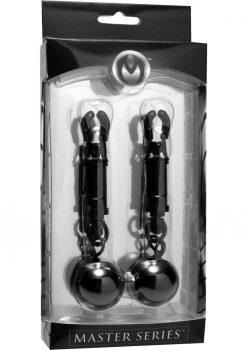Master Series Black bomber Clamps Barrel Nipple Clamps With Weighted Balls Black