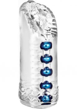 M For Men Snatch Jelly Pussy Beaded Stroker Clear 5.5 Inch