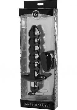 Master Series Cyclone Vibrating Anal Plug Black 9 Inch