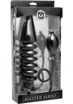 Master Series Accordion Inflatable Xl Anal Plug Black 14.5 Inch