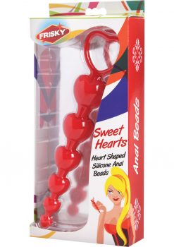 Frisky Sweet Heart Silicone Anal Beads Red 6 Inches