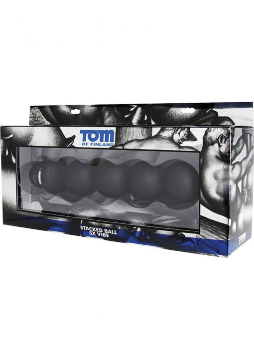 Tom Of Finland Stacked Ball Silicone Vibe Black 9.5 Inches