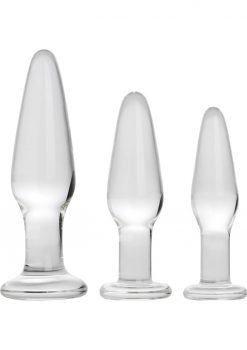 Prisms Dosha Glass Anal Plugs Clear 3 Each Per Kit