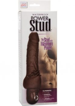 Power Stud Cliterrific Flexible Realistic Vibrator Waterproof Brown 7.5 Inch