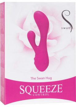 Swan The Swan Hug Squeeze Control Silicone Rechargeable Dual Vibe Waterproof Pink