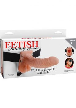 Fetish Fantasy Series Hollow Strap On With Balls Flesh 7 Inch