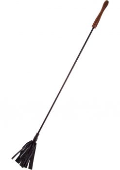 Rouge Wooden Handle Leather Riding Crop Black