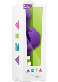Aria Lotus Flutter Silicone Vibe Waterproof Purple 7.25 Inch