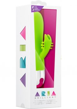 Aria Brilliant Silicone Rabbit Vibe Waterproof Green 7.75 Inch