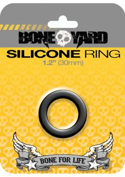 Bone Yard Silicone Ring Cockring Black 1.2 Inch Diameter
