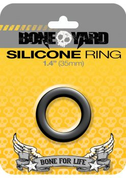 Bone Yard Silicone Ring Cockring Black 1.4 Inch Diameter