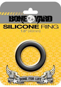 Bone Yard Silicone Ring Cockring Black 1.6 Inch Diameter