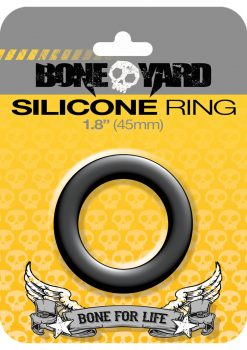 Bone Yard Silicone Ring Cockring Black 1.8 Inch Diameter