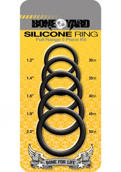 Bone Yard Silicone Ring Cockrings Black Full Range 5 Piece Kit