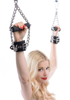 Strict Leather Fur Lined Nubuck Leather Suspension Cuffs with Grip