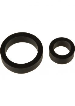 TitanMen Platinum Silicone Cock Ring Double Pack Black