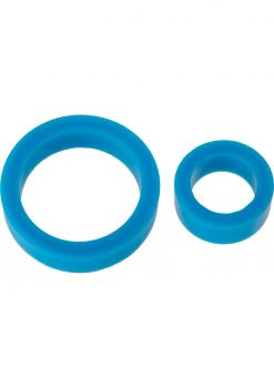 TitanMen Platinum Silicone Cock Ring Double Pack Blue