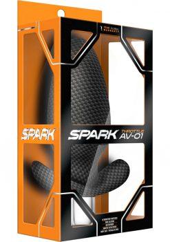 Spark Throttle AV-01 Silicone Vibrating Anal Plug Waterproof Black 4.75 Inch