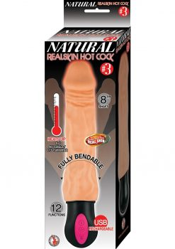 Natural Realskin Hot Cock #3 USB Rechargeable Warming Realistic Vibrator Waterproof Flesh 8 Inch