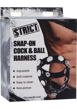Strict Snap On Cock And Ball Harness Leather And Metal Black