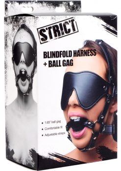 Strict Blindfold Harness And Ball Gag Leather And Metal Black