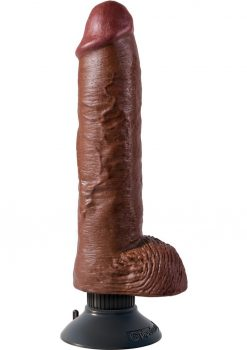 King Cock Vibrating Realistic Dildo With Balls Waterproof Brown 10 Inch