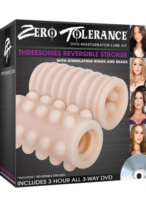 Threesomes Reversible Stroker With Stimulating Rings And Beads Kit Flesh
