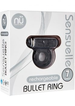 Bullet Ring 7 Function Silicone Rechargeable C Ring Waterproof Black