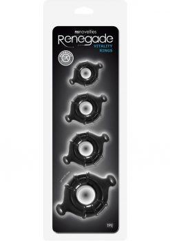 Renegade Vitality Rings 4 Cock Ring Set - Black