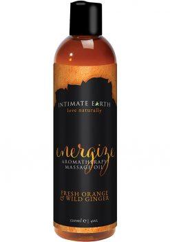 Intimate Earth Energize Aromatherapy Massage Oil Fresh Orange and Wild Ginger 4oz