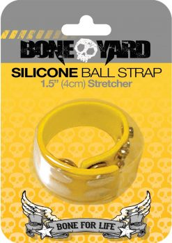 Bone Yard Silicone Ball Strap Stretcher With Snaps Yellow 1.5 Inch Wide
