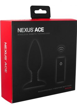 Nexus Ace Wireless Remote Rechargeable Vibrating Silicone Butt Plug Waterproof Black Medium