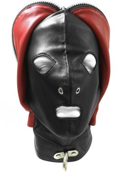 Rouge Leather Fly Trap Mask Adjustable Black And Red