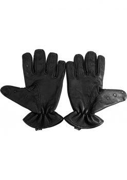 Rouge Leather Vampire Gloves Black Medium