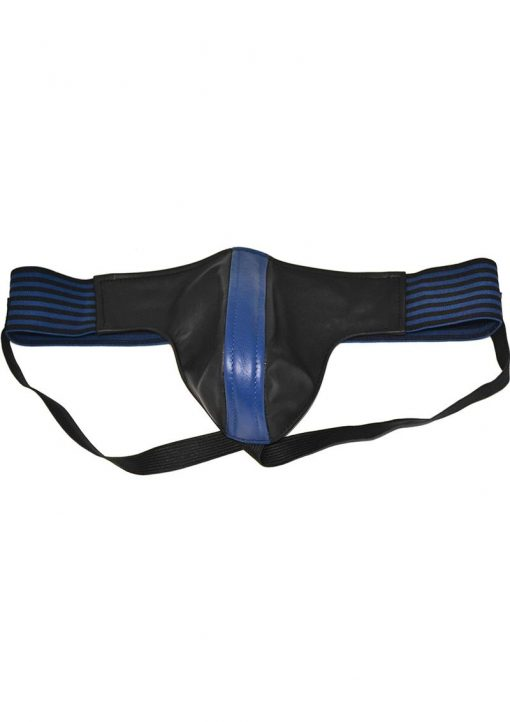 Rouge Leather Jock Strap With Stripes Blue And Black Large