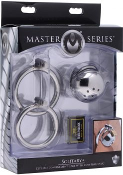 Master Series Solitary Extreme Confinement Cage With Cum Thru Plug Silver