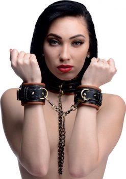 Master Series Coax Collar To Wrist Restraints Black