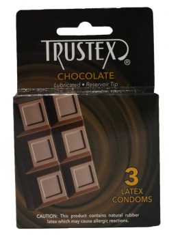 Trustex Chocolate Lubricated Reservoir Tip Flavored Latex Condom 3 Each Per Box