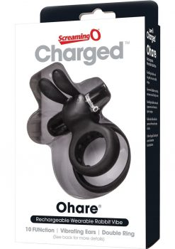 Charged Ohare Rechargeable Silicone Waterproof Rabbit Cock Ring Black