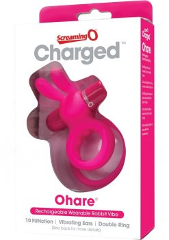 Charged Ohare Rechargeable Silicone Waterproof Rabbit Cock Ring Pink