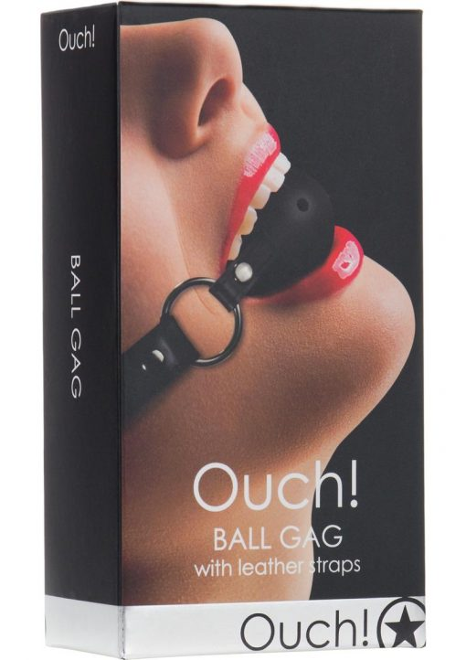 Ouch Ball Gag With Leather Straps Black