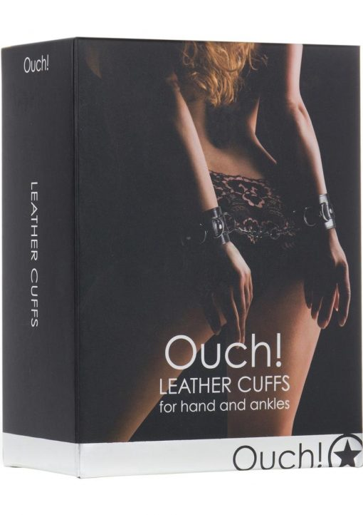 Ouch Premium Bonded Leather Cuffs For Hands Or Ankles Black