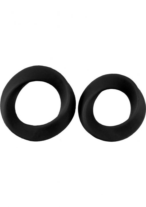 Mjuze Infinity Silicone Cock Ring Set Waterproof Black 2 Each Pack Large and Extra Large