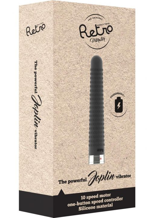 Retro Joplin Silicone USB Rechargeable Textured Vibrator Black