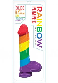 Pumped Rainbow Silicone Realistic Dildo With Balls 9 Inch