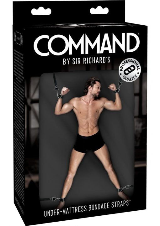Sir Richard`s Command Under Mattress Bondage Straps Black And Stainless Steel