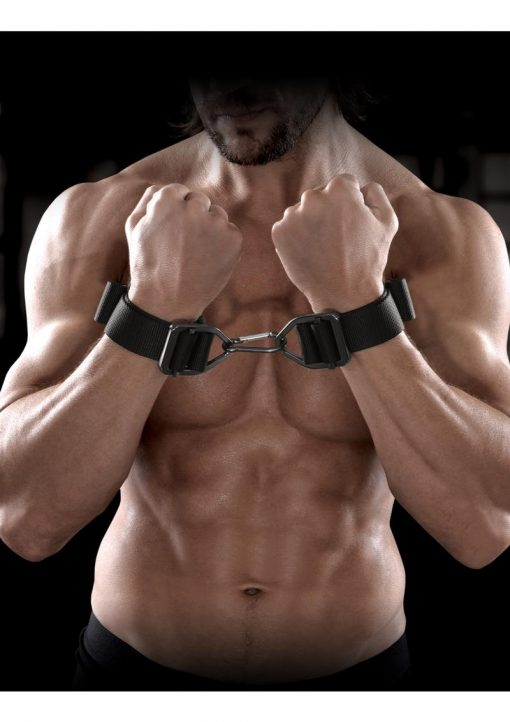 Sir Richard`s Command Heavy Duty Cuffs Black And Stainless Steel