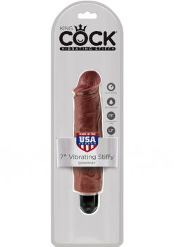King Cock Vibrating Stiffy Realistic Dildo Waterproof Brown 7 Inch