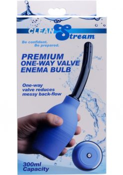 Clean Stream Premium One Way Valve Enema Bulb Blue 300 Millilliter