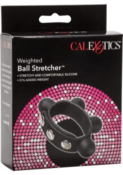 Weighted Ball Stretcher Silicone Adjustable Ring Black